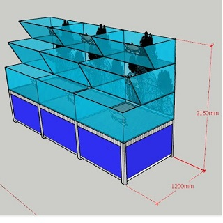 Hồ hải sản giật lùi chân 3 tầng, Bể hải sản giật lùi chân 3 tầng