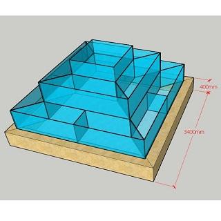 Hồ hải sản dạng tháp 3 tầng nền Ciment, Bể hải sản dạng tháp 3 tầng nền Ciment